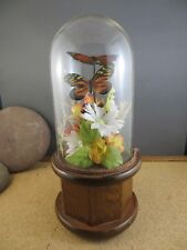 """Vintage 1979 Enesco Music Box Rotating Butterfly Flower Dome Wood Base 9"""""""