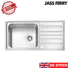 JASS FERRY Stainless Steel Kitchen Sink Large Bowl Reversible Drainer 1000x500mm