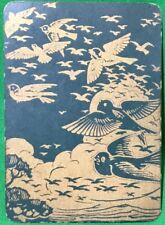 Playing Cards 1 Single Swap Card - Old Antique Wide JAPANESE LACQUER Green BIRDS