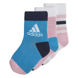 Adidas Kids Socks Girl Athletics Ankle 3 Pairs Running Sports Infants DW4755 New