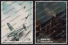Reklame Messerschmitt Bf 109 Augsburg Luftfahrt Henschel Lok 45 002 Bahnhof 1942