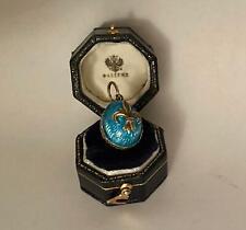 FABERGE Antique Imperial RUSSIAN Enamel EGG Pendant , 84 silver