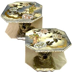 Mid-20th Century Chinoiserie Eglomise Cocktail Table Duo