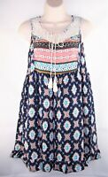 Womens UMGEE blue aztec western tunic top t shirt Medium ivory lace boho peasant