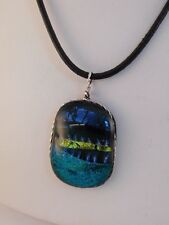 STERLING SILVER BLUE ART GLASS PENDANT NECKLACE DICHROIC FUSION FUSING