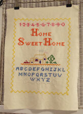 "Vintage Cross Stitch Sampler Alphabet ""Home Sweet Home"" Embroidery 13″ x 10″"