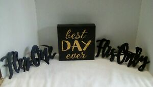 Her One His Only Wooden Chair Table Wedding Decor & Best Day Ever Plaque NEW