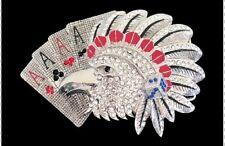 Indian Rhinestone Wild Birds Eagle Falcon Cards Belt Buckle Boucle de Ceintures