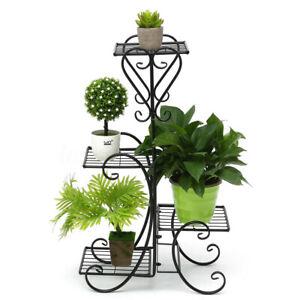 Metal Pot Plant Stand Corner Shelf Garden 4 Tier Planter Outdoor Indoor Shelves