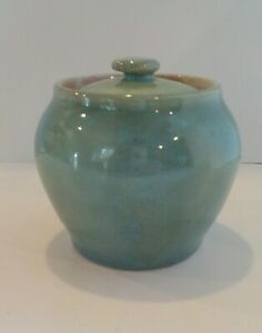 Vintage Pisgah Forest Pottery Covered Jar Sugar Bowl Pink Interior Aqua Blue WOW