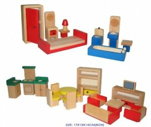 Wooden Doll House Furniture Set,  5 Rooms, Non Toxic, Dolls House Furniture Set