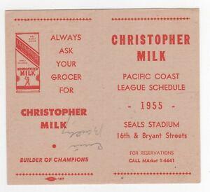 SAN FRANCISCO SEALS 1955 POCKET SCHEDULE EX (L@@K!)