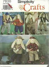 SIMPLICITY CRAFTS #7836 NEW AND UNCUT PATTERNS BOY BUNNY AND CLOTHES NEW PATTERN