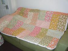 "handmade patchwork quilted throw in tilda bumblebee 100% cotton fabric 72"" x 45"""