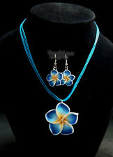 Blue Plumeria Hawaiian Necklace & Earrings Fimo Flower Handcraft Beach,Vacation