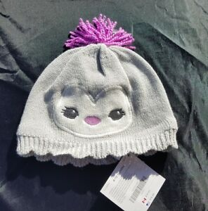 Gymboree Girls Polar Princeess Hat Size 6-12 Months Penguin Purple Grey Cap Swea