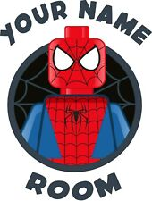 Lego Marvel - Spiderman door sticker  - PERSONALISED WITH YOUR NAME