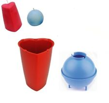 Set x 2, Valentine Heart Shaped Mold & Sphere Round Candle Making Mould. S7739
