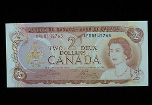 1974 $2 Bank of Canada Banknote ARD 0142765 Crow Bouey AU+ Grade Bill