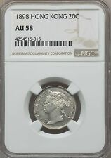 1898 Hong Kong 20 Cents, NGC AU 58, Scarce