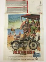 """Vintage Motorcycle Poster Parts List 22"""" x 34"""" 1953 Matchless Clubman Domi Racer"""