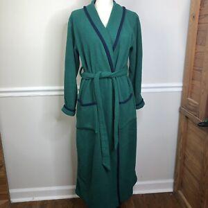 L.L. Bean Mens women's  Wrap Robe Fleece Vintage small green Blue Night PJ