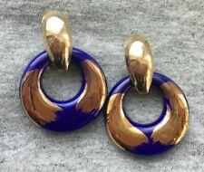 gold tone pierced hoop dangle chunky Runway Vintage 2 in 1 earrings navy blue