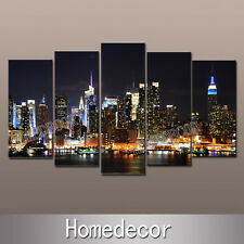 1 Set Wall Art US Night New York City Buildings Landscape canvas picture prints