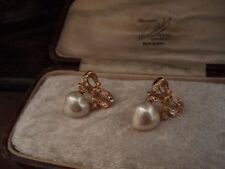 Vintage Crystal Bow and Heart Pearl  Pierced Earrings. 22ct Gold Plated