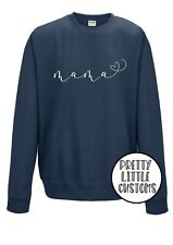 Mama heart print mother's day sweater sweatshirt airforce blue