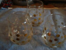 New listing Vintage Set of Three Gold Plated Dots Clear Glasses Milk or Rocks
