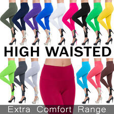 Womens High Waisted Leggings Cotton Full Length Plus Sizes 8 10 12 14 16 18 20+