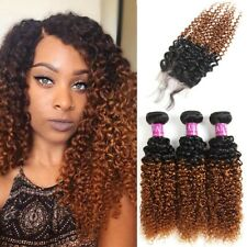Brazilian 2 Tone Ombre Kinky Curly Hair 3 Bundles with Closure 4X4 Ombre Free Pa