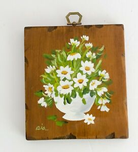 Vintage Small Floral Wood Painting Plaque White Flowers 70s Boho Gallery Wall
