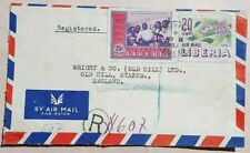 LIBERIA 1957 REGISTERED AIRMAIL COVER WITH GREENVILLE CANCEL & SMALL R CACHET