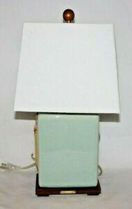 Ralph Lauren Light Mint Green Crackle Finish Porcelain Table Lamp & Shade New