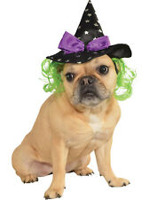Pet Dog Cat Wicked Witch Costume Halloween Hat With Hair Wig