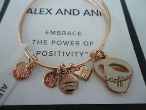 Alex and Ani COFFEE MUG Charity By Design Shiny Rose Bangle New W/Tag Card & Box