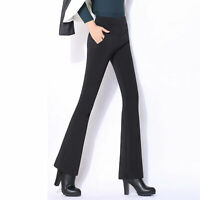 Women's Flare Long Pants High Waist Slim Fit OL Office Casual Straight Trousers
