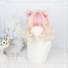 Kawaii Yellow+Pink Gradient Harajuku Curls Hair Wig Gothic Daily Lolita Fairy