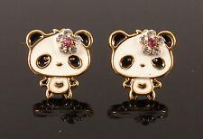 Cute Panda Bear Crystal Flower Daisy Costume Fashion Jewellery Stud Earrings