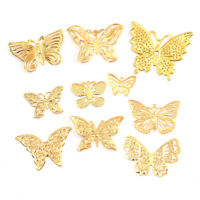 50Pcs/Set Gold Metal Filigree Hollow Butterfly Charms Craft DIY Jewelry MakingWG