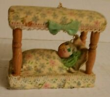 Vintage sleeping kid in a four post bed Christmas Ornament - Kurt S Alder