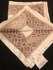 Hotel Collection Ivory with Embroidered Beige Velvet Border Pair Euro Shams NEW