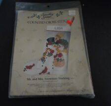 CANDAMAR SOMETHING SPECIAL CREWEL CHRISTMAS STOCKING KIT 5021 MR/MRS SNOWMAN NEW