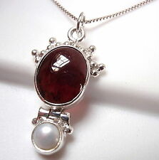 Garnet Cultured Pearl Pendant 925 Sterling Silver with Decorative Crown Oval New