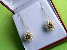 14K Solid Yellow Gold Seed Pearl and Gold Ball Dangle Drop Flower Earrings