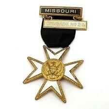 Freemasonry Knights Templar Enamel Maltese Cross Missouri Crusade Ribbon Pin