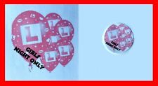 24 White 40mm RF21 Hen Party L Plate Balloons Labels Hen Night Party Stickers