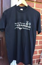 Vintage 70s Special Forces Weapons 50/50% Cotton/Poly Black Color Thin T-Shirt.